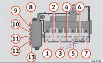 Under-hood fuse box diagram (ver.1): SEAT Toledo (2012, 2013, 2014, 2015)