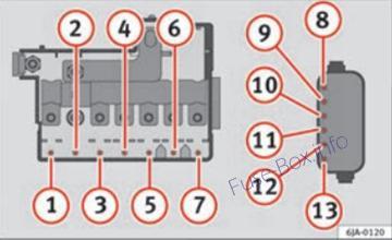 Under-hood fuse box diagram (ver.2): SEAT Toledo (2012, 2013, 2014, 2015)