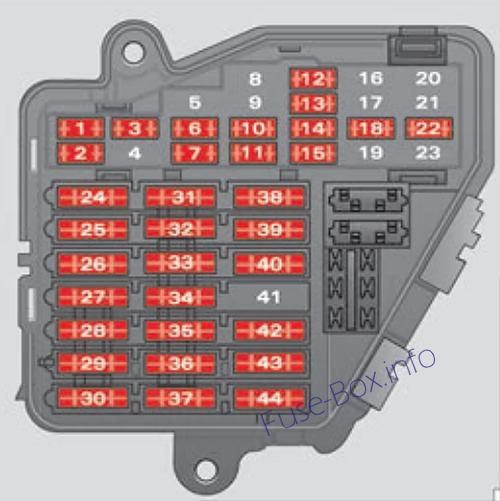 Instrument panel fuse box diagram: SEAT Exeo (2008, 2009, 2010, 2011, 2012, 2013)