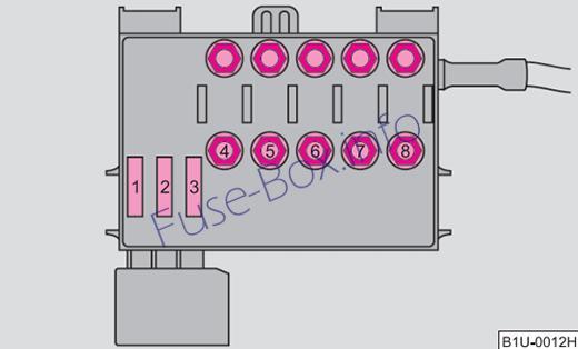 Under-hood fuse box diagram (ver.2): Skoda Octavia (2010)