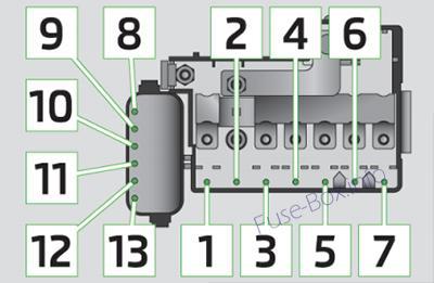 Under-hood fuse box diagram (ver.1): Skoda Rapid (2012, 2013, 2014, 2015)