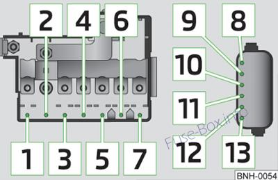 Under-hood fuse box diagram (ver.2): Skoda Rapid (2012, 2013, 2014, 2015)