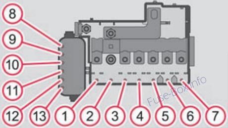 Under-hood fuse box diagram (MT, DSG): Skoda Roomster (2006-2015)