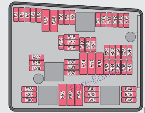 Under-hood fuse box diagram (ver.1): Skoda Yeti (2009, 2010)