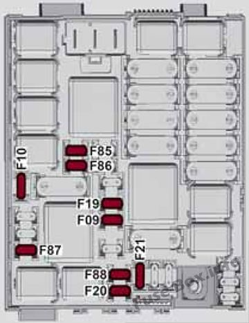 Fuse box diagram (Engine compartment fuse box): Alfa Romeo Giulietta (940; 2014, 2015, 2016, 2017, 2018)