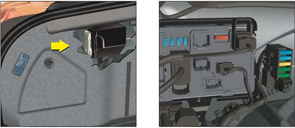 The location of the fuses in the trunk: Citroën C6 (2007, 2008, 2009, 2010, 2011)