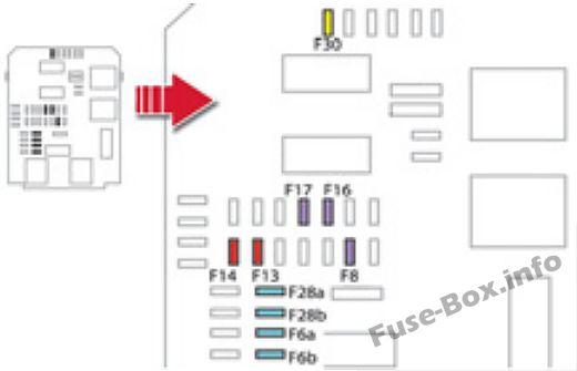Instrument panel fuse box diagram: Citroen DS5 (2012, 2013, 2014, 2015, 2016)