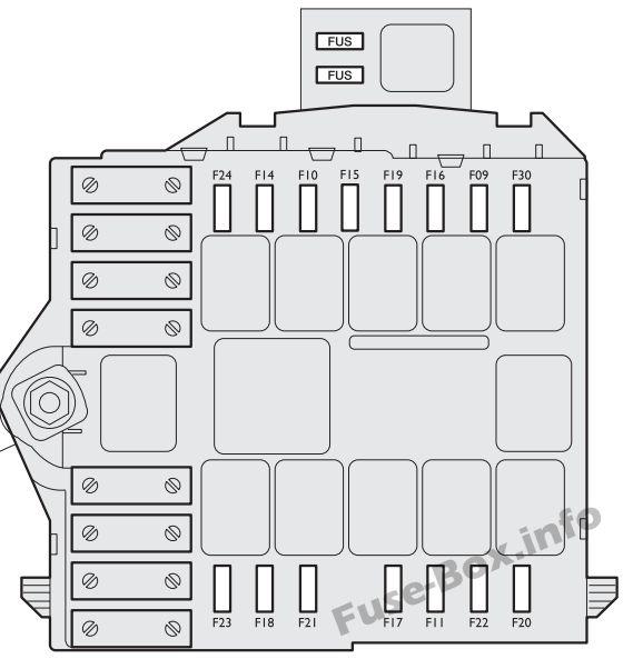 Under-hood fuse box diagram: Fiat Idea (2012)