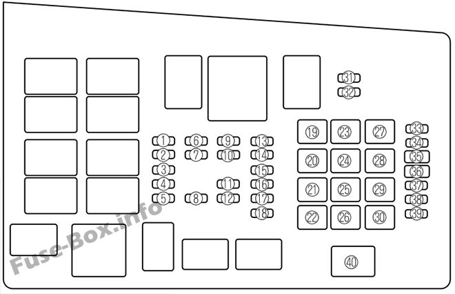 Under-hood fuse box diagram: Mazda 6 (2005)
