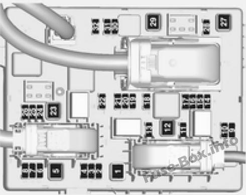 Trunk fuse box diagram: Opel/Vauxhall Cascada (2014, 2015, 2016, 2017, 2018)