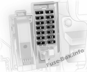 Instrument panel fuse box diagram: Opel/Vauxhall Corsa D (2009, 2010, 2011, 2012, 2013, 2014)