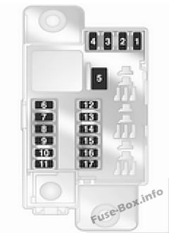 Trunk fuse box diagram: Opel/Vauxhall Corsa D (2009, 2010, 2011, 2012, 2013, 2014)