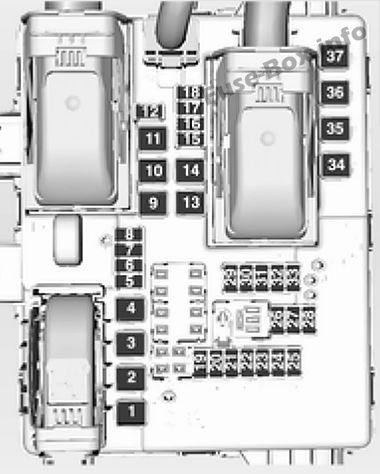 Trunk fuse box diagram: Opel/Vauxhall Insignia A (2014, 2015)
