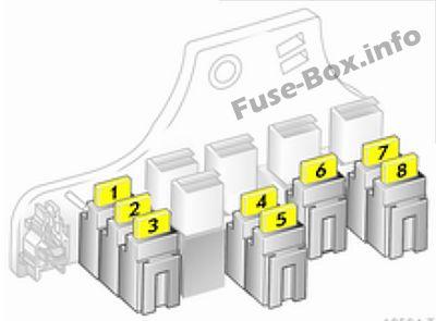 Trunk fuse box diagram (version A): Opel/Vauxhall Zafira B (2009, 2010, 2011, 2012, 2013, 2014)
