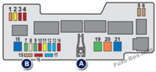 Under-hood fuse box diagram: Peugeot 107 (2012)