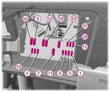 Instrument panel fuse box diagram: Peugeot 407 (2005)