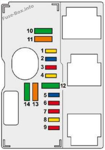 Under-hood fuse box diagram: Peugeot 407 (2009, 2010)