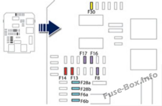 Instrument panel fuse box #1 diagram: Peugeot 508 (2011, 2012, 2013, 2014)