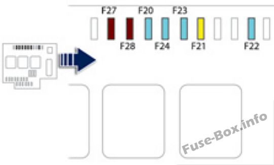 Under-hood fuse box diagram: Peugeot 508 (2011, 2012, 2013, 2014)