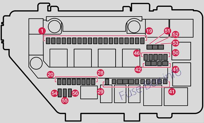 Under-hood fuse box diagram: Volvo XC40 (2018)
