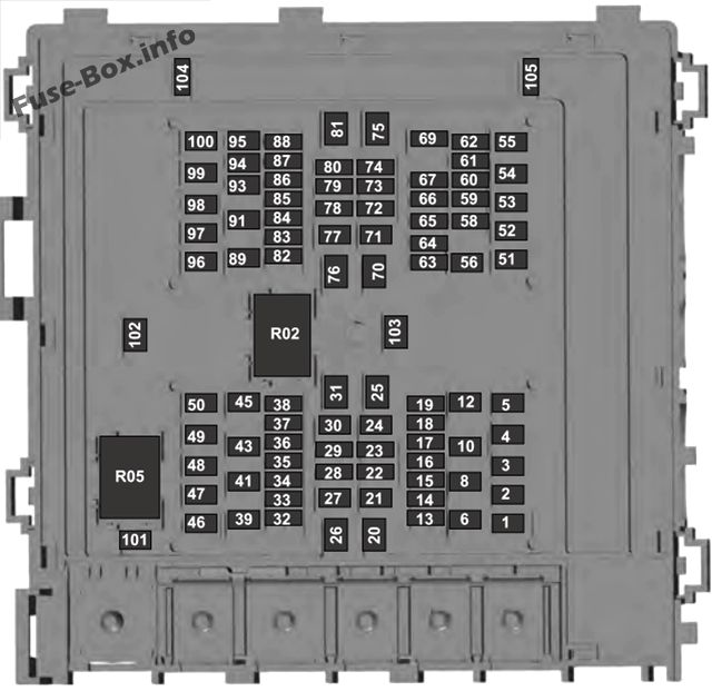 Under-hood fuse box diagram: Ford F-150 (2018, 2019)