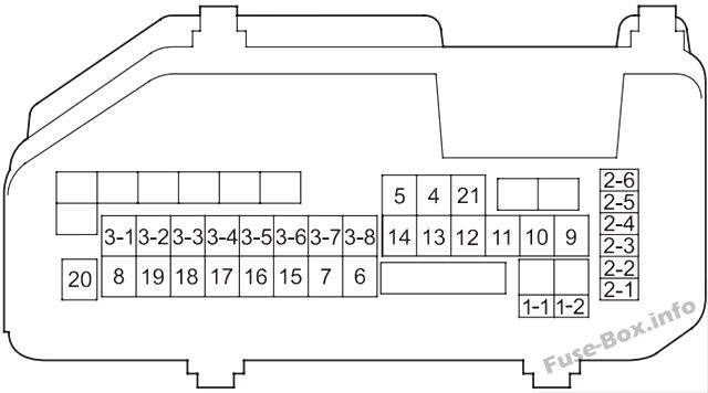 Under-hood fuse box diagram: Honda Accord (2008, 2009, 2010, 2011, 2012)