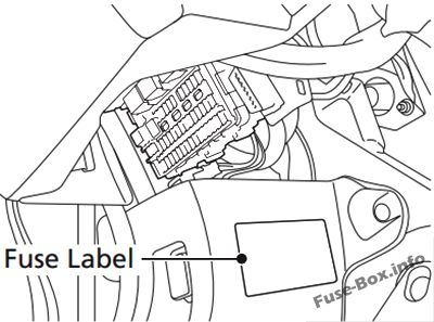 honda civic 2012 2015 < fuse box diagram fuse locations are shown on the label on the side panel