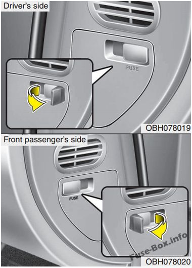 The location of the fuses in the passenger compartment: Hyundai Equus/Centennial (2010, 2011, 2012)
