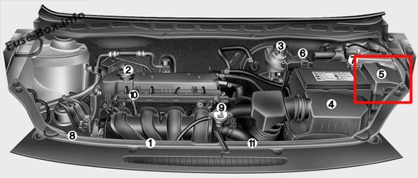 The location of the fuses in the engine compartment (gasoline): Hyundai i20 (2008-2014)