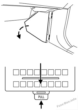 lincoln navigator 2003 2006 < fuse box diagram to remove the trim panel for access to the fuse box pull the panel toward you and swing it out away from the side and remove it