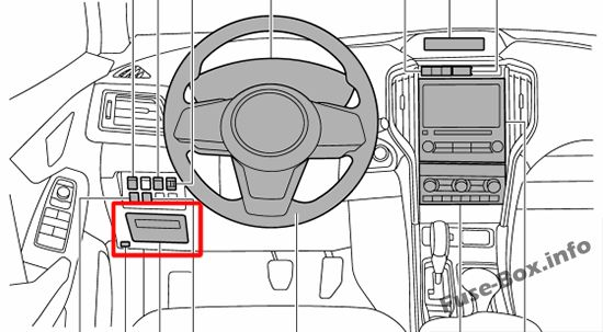 The location of the fuses in the passenger compartment: Subaru Ascent (2018, 2019-...)