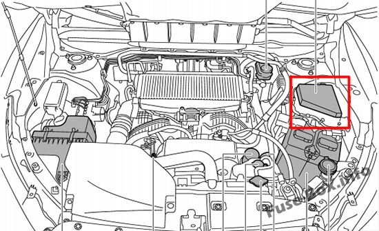 The location of the fuses in the engine compartment: Subaru Ascent (2018, 2019-...)