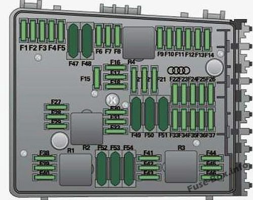 Fuse box diagram (Engine compartment, variant with 54 Plug-in Fuses): Audi A3 / S3 (8P; 2008)