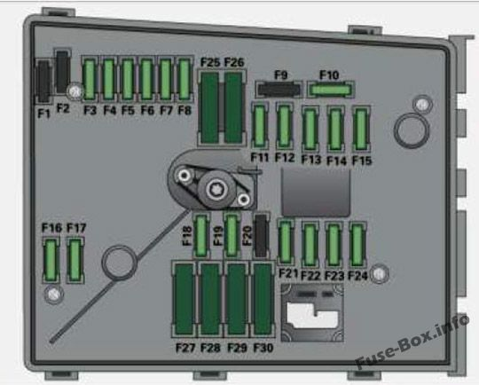 Fuse box diagram (Engine compartment, variant with 30 Plug-in Fuses): Audi A3 / S3 (8P; 2008)