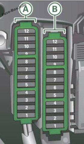 Fuse box diagram (Instrument panel, passenger's side): Audi A4/S4 (B8/8K; 2011, 2012)