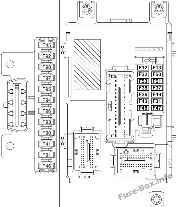 Instrument panel fuse box diagram: Fiat Doblo (2010, 2011, 2012, 2013, 2014)