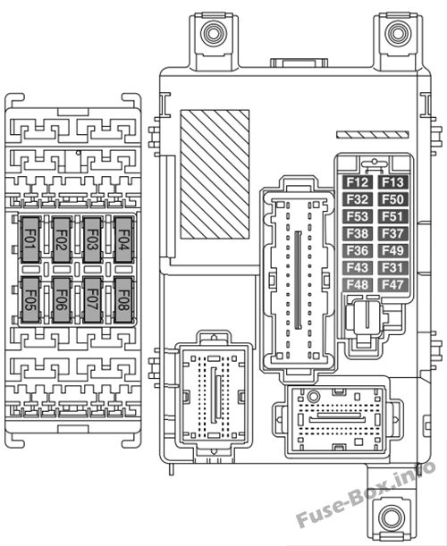 Instrument panel fuse box diagram: Fiat Doblo (2015, 2016, 2017, 2018)