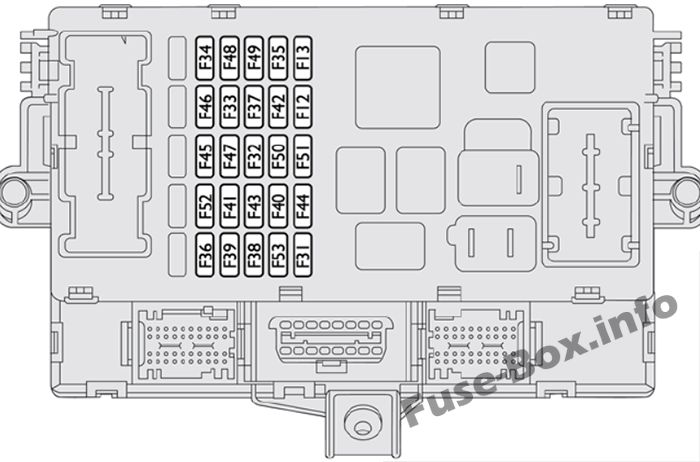 Instrument panel fuse box diagram: Fiat Ducato (2007, 2008, 2009, 2010, 2011, 2012, 2013, 2014)