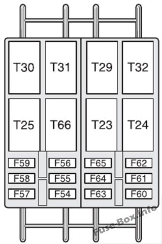 Optional fuse box (diagram): Fiat Ducato (2007, 2008, 2009, 2010, 2011, 2012, 2013, 2014)