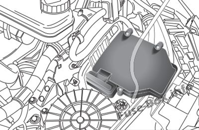 The location of the fuses in the engine compartment: Fiat Ducato (2015, 2016, 2018, 2019)