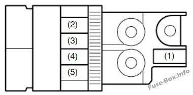 Under-hood fuse box diagram #1 (gasoline): Fiat Sedici (2006, 2007, 2008, 2009, 2010, 2011, 2012, 2013, 2014)