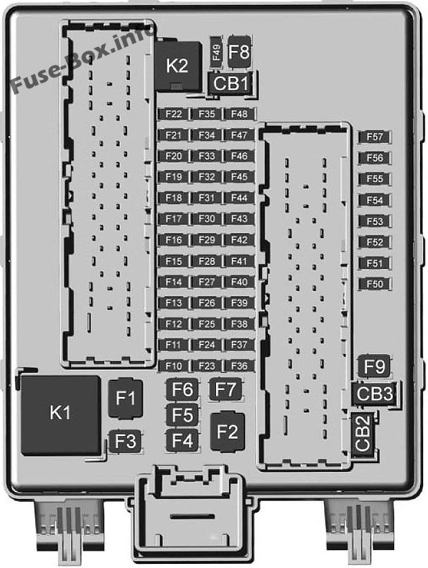 Trunk fuse box diagram: GMC Acadia (2017, 2018)