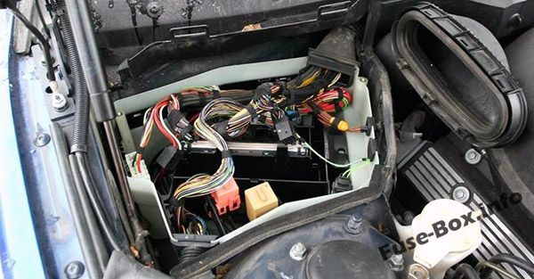 The location of the fuses in the engine compartment: BMW 5-Series (1996, 1997, 1998, 1999, 2000, 2001, 2002, 2003)
