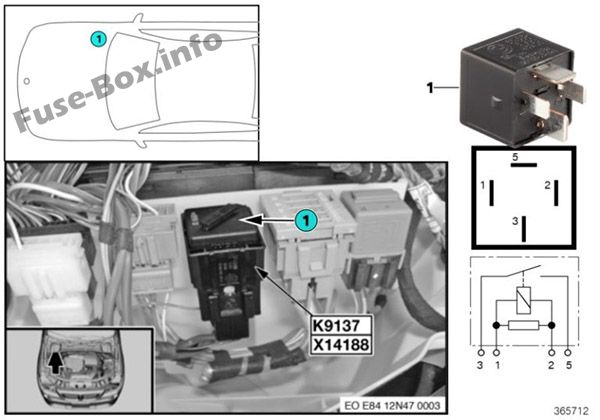 Relays in the engine compartment: BMW X1 (2010, 2011, 2012, 2013, 2014, 2015)