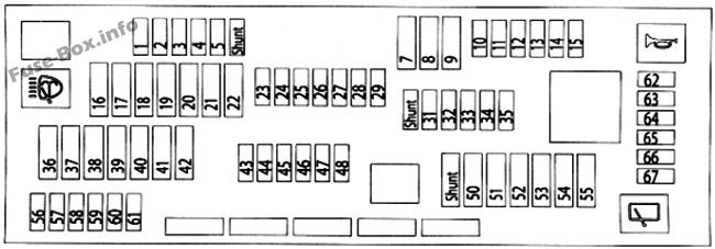 Instrument panel fuse box diagram: BMW X3 (2011, 2012, 2013, 2014, 2015, 2016, 2017)