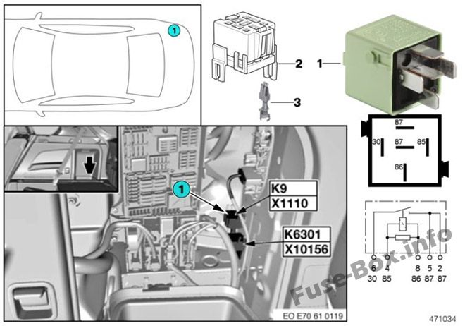 Fuse Box Diagram Bmw X5  E70  2007