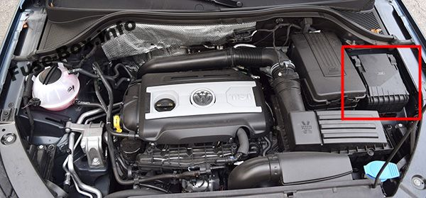The location of the fuses in the engine compartment: Volkswagen Tiguan (2008-2017)