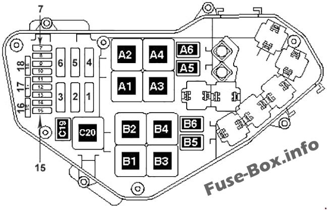 Under-hood fuse box diagram (diesel): Volkswagen Touareg (2002, 2003, 2004, 2005)