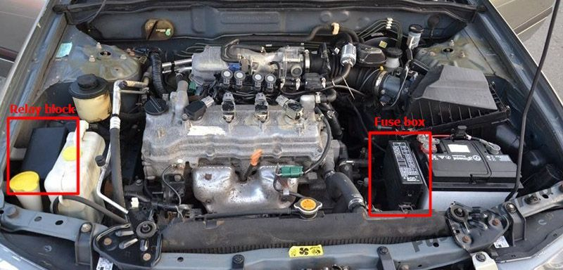 The location of the fuses in the engine compartment: Nissan Almera II (2000-2006)
