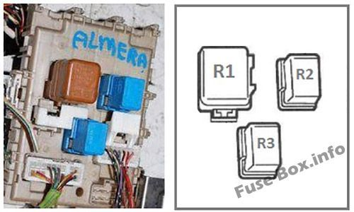 Instrument panel fuse box diagram (rear side): Nissan Almera II (2000-2006)